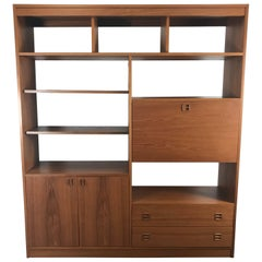 Classic Teak Wood Wall Unit, Drop Down Desk, Denmark