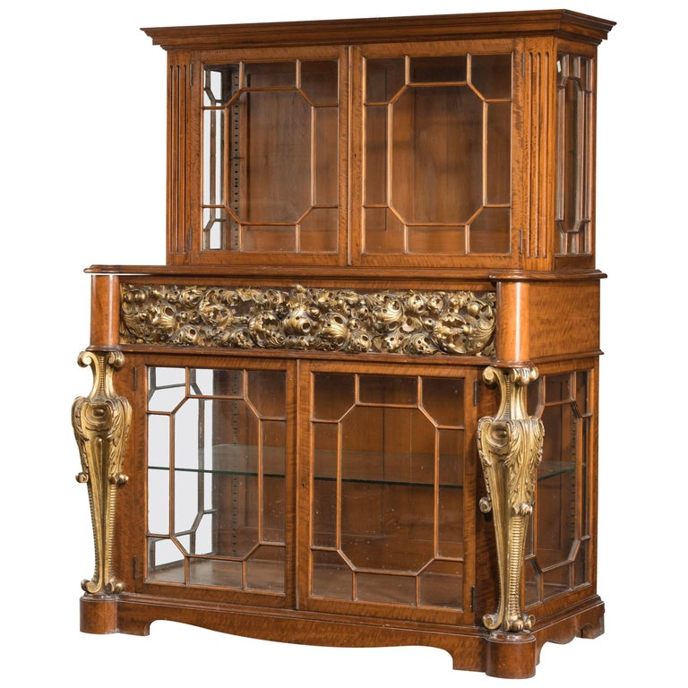 Mid-19th Century Satinwood Cabinet with Elaborate Giltwood Decoration