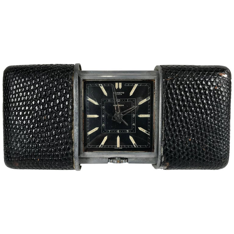 Movado Ermeto for Hermes Leather and Steel Travel Clock, Black Face For Sale