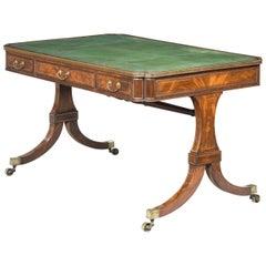 Regency Period Mahogany Writing Table with Fine Brass Inlay
