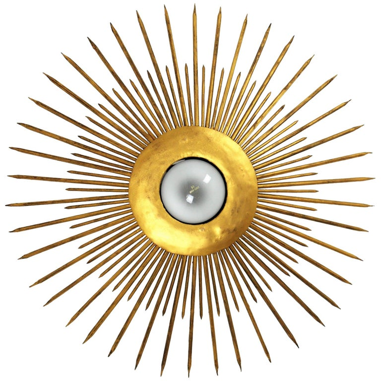 Large Hand-Hammered Iron Gold Leaf Gilt Sunburst Light Fixture, France, 1940s