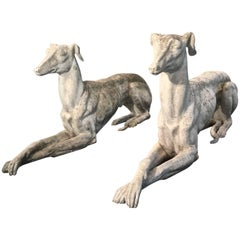 Pair of Life-Sized Cast Marble Greyhounds