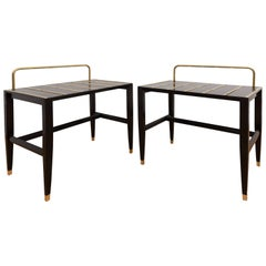 Important Pair of Gio Ponti Black Lacquered Side Tables from Hotel Royal, 1955