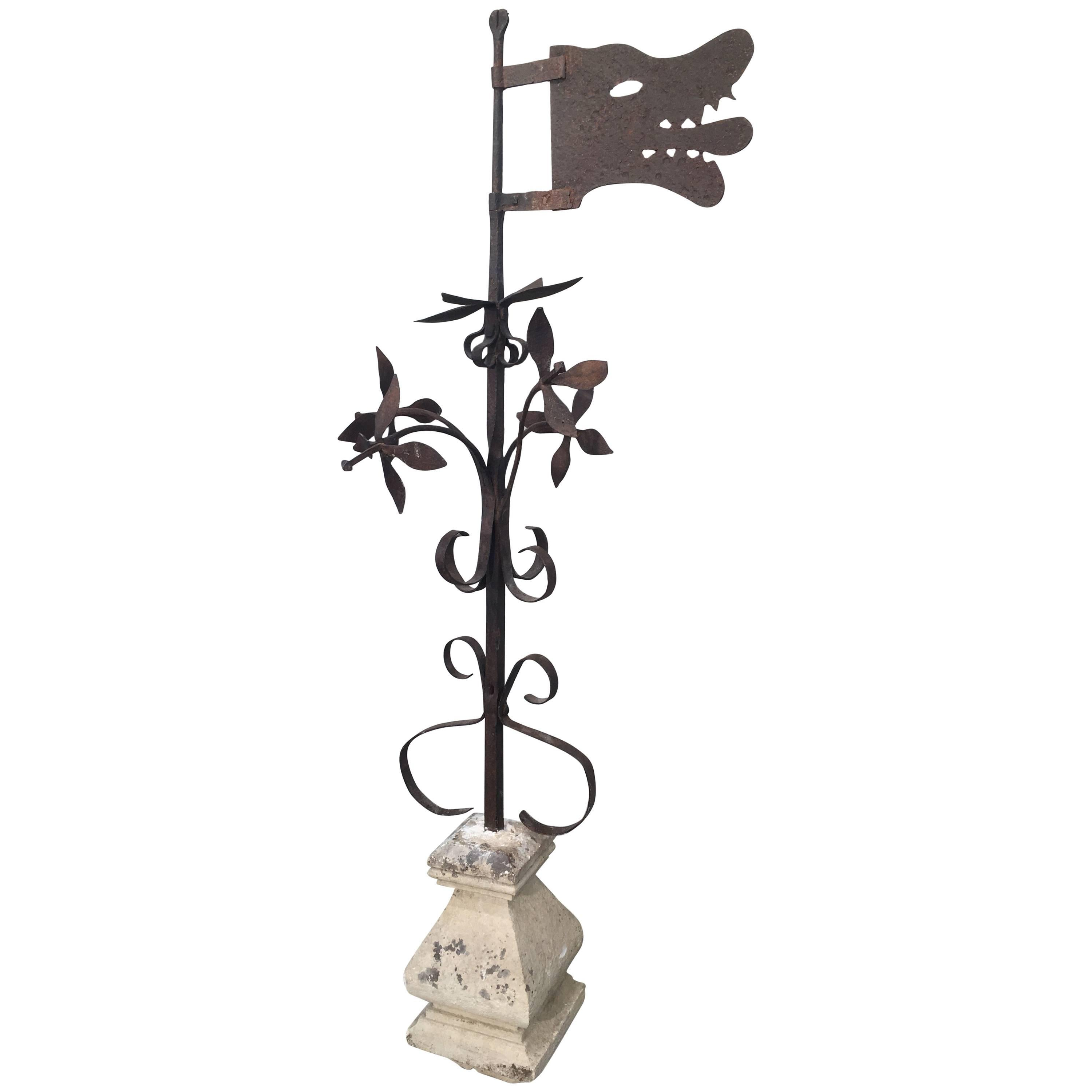 18th Century French Wrought Iron Wolf Head Weathervane in Stone Base