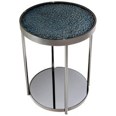 Contemporary Hemlock Indigo Side Table with Polished Black Nickel