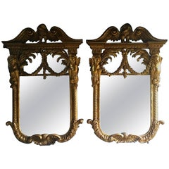 French Giltwood Wall Mirrors Pair of William Kent Design Very Large Rococo