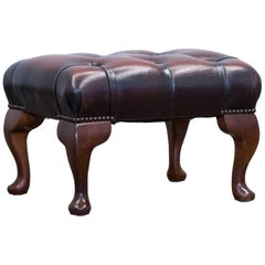 Chesterfield Footstool Leather Brown One Seat Couch Vintage Retro