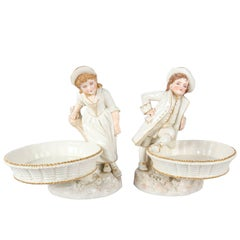 Pair of English Royal Worcester Figural Gilt Bon Bon Dishes by James Hadley