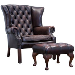 Chesterfield Armchair Set Leather Brown One Seat Couch Retro Vintage