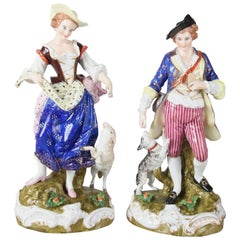 Large Antique Dresden Helena Wolfsohn Gilt Figurines of Courting Couple