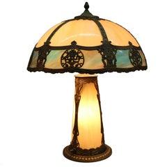 Antique Miller School Arts & Crafts Slag Glass Lamp Filigree Shade, Lighted Base