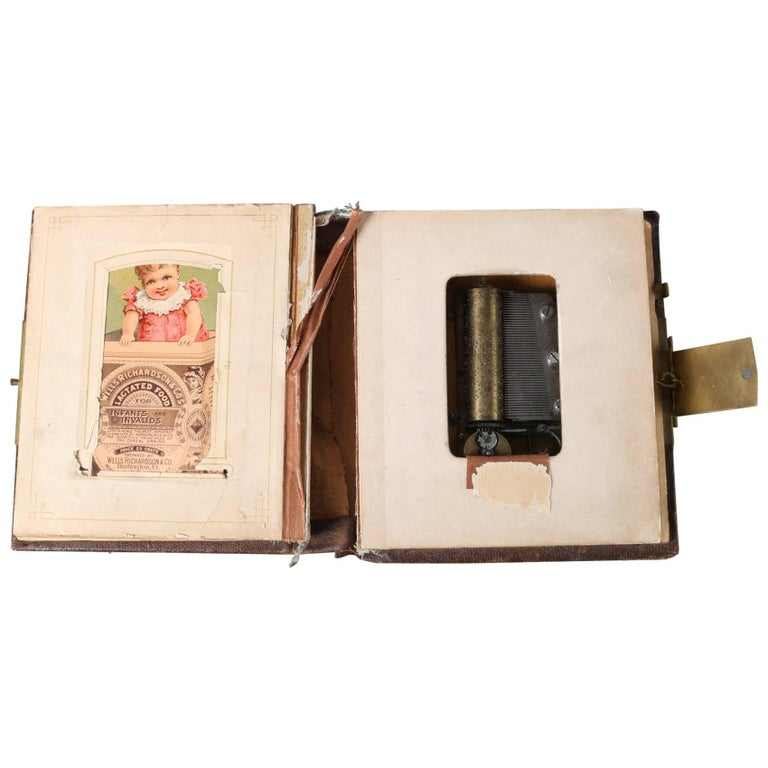 Antique Victorian Novelty Photo Album Or Postcard Book With Music