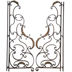 Pair of French Beaux Arts Wrought Iron Balcony Dividers or Gates