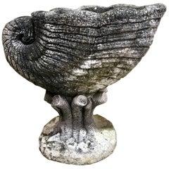 Vintage Cast Stone Nautilus Shell Planter
