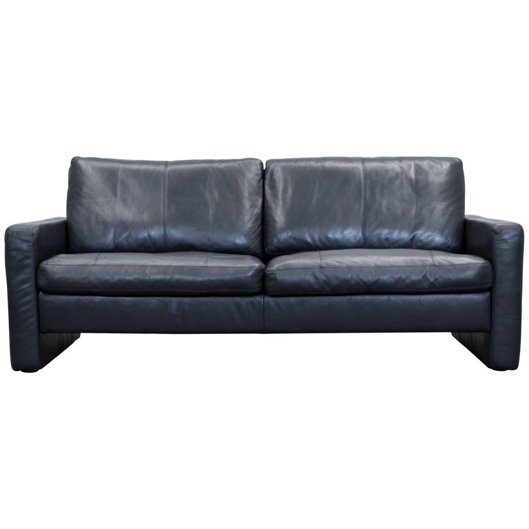 Cor Conseta Designer Sofa Leather Black Two Seat Couch Modern At 1stdibs