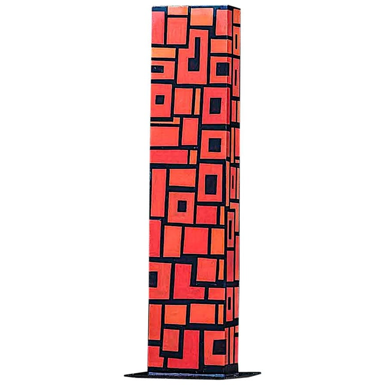 Contemporary Outdoor Large Abstract Steel Painted Sculpture, Model Totem