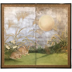 Two Fold Japanese Screen with Rabbits