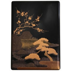 Japanese Lacquer Box with Gold Pine Trees
