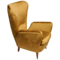 Sala Madini for Galimberti Cantu Armchair 1950s, Fully Restored, Gold Velvet