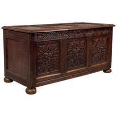 Antique Coffer, English Oak Joined Chest, Queen Anne, circa 1700