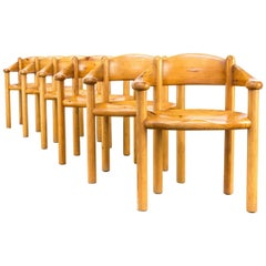 1960s Rainer Daumiller Pine Dining Chairs Set of Six