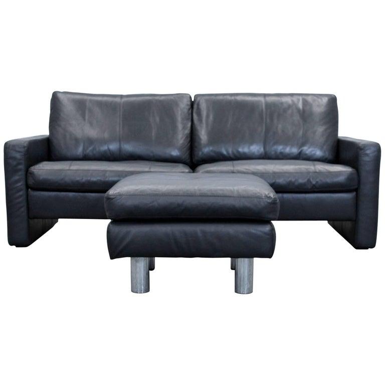 COR Conseta Designer Sofa Set Leather Black Two-Seat Couch Modern ...