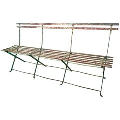 Rare French Folding Wrought Iron Bench in Original Paint