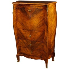 Italian Secrétaire Desk in Rosewood and Palisander with Wet Bar, 20th Century