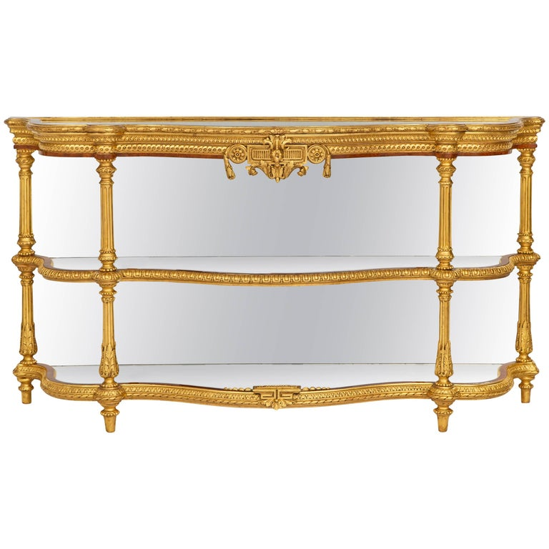 French Mid-19th Century Louis XVI Style Giltwood and Mirrored Dessert Console