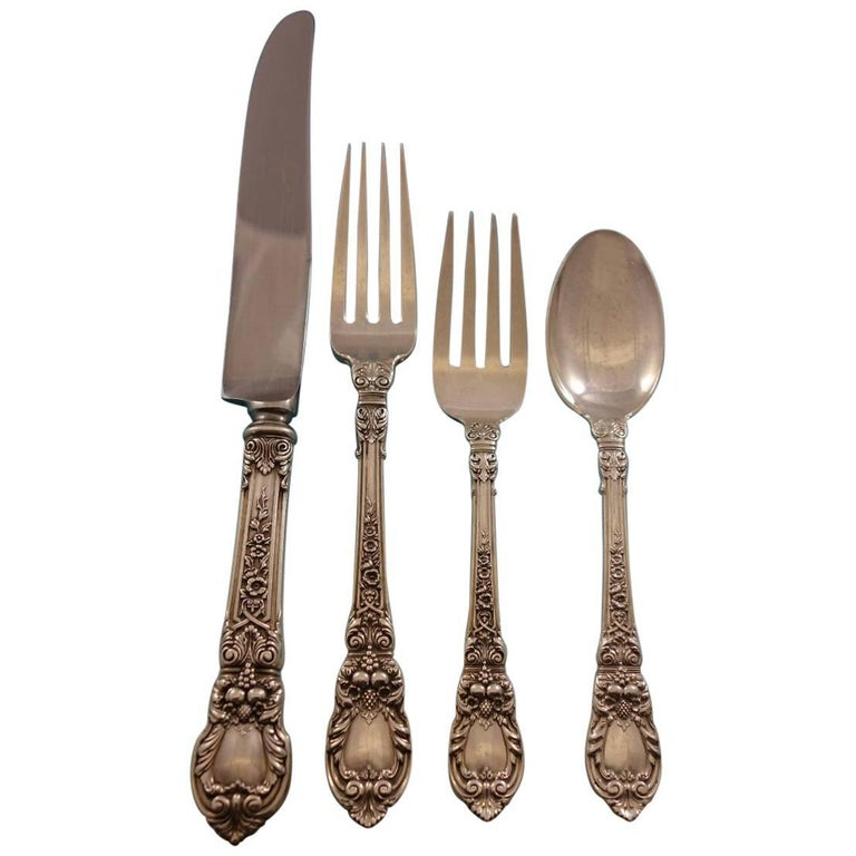 4ad5574915203 Charles II by Lunt Sterling Silver Flatware Set for 12 Service 82 Pieces  For Sale