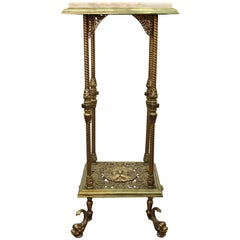 American Victorian Brass Pedestal with Marble Top