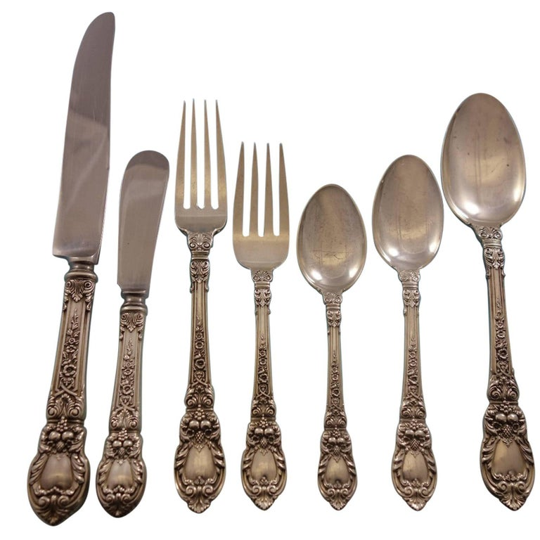 Charles II by Lunt Sterling Silver 8 Service Dinner Flatware Set of 62 Pieces