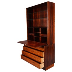 Mid-Century Modern Rosewood Secretary or Wall Unit by Dyrlund, Denmark