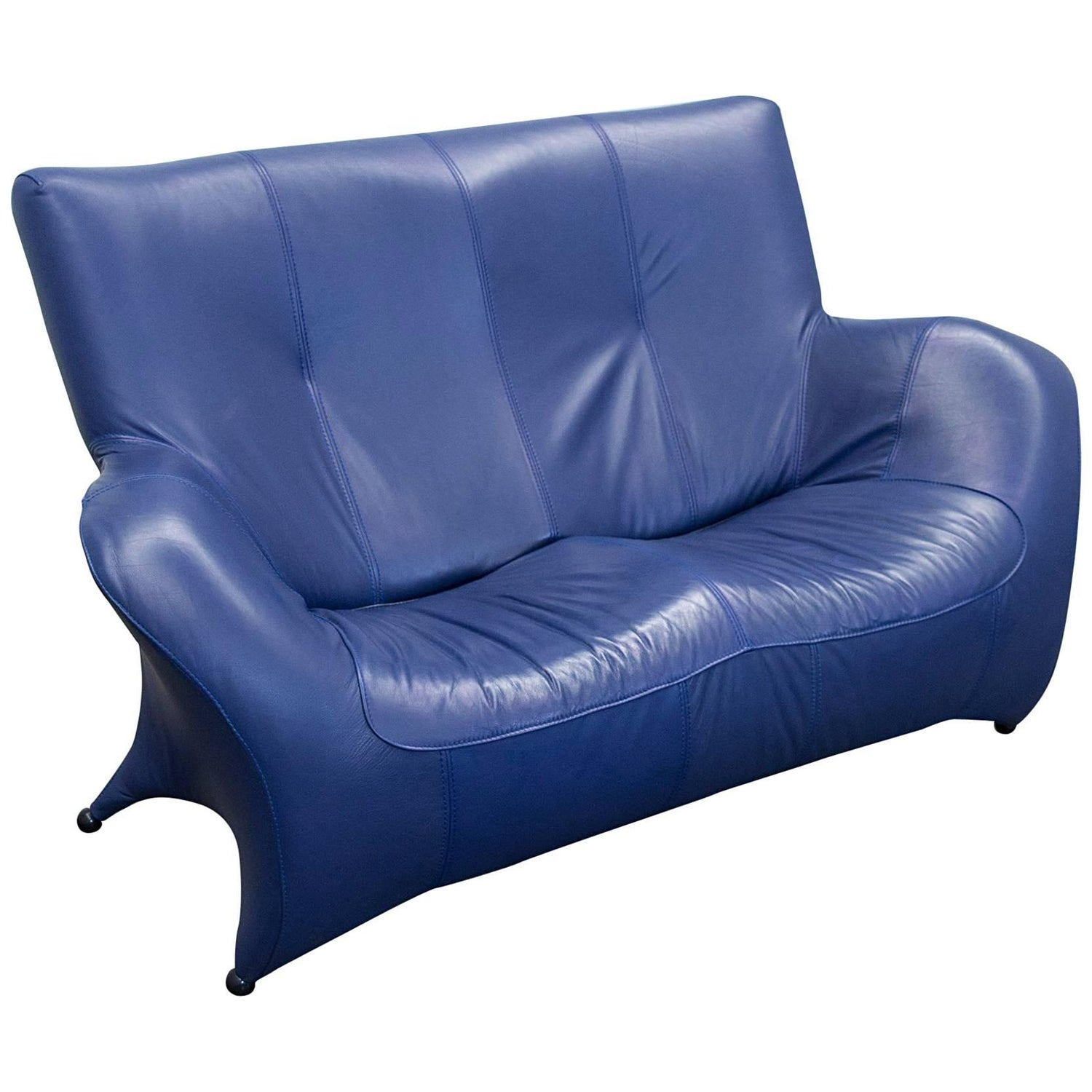 Designer Sofa Leather Blue Two Seat Couch Modern For Sale at 1stdibs