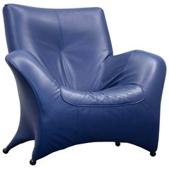 Designer Armchair Leather Blue One Seat Couch Modern