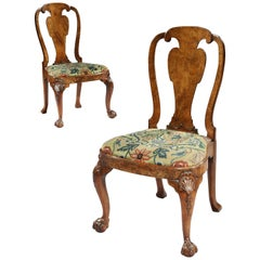 Pair of George II Walnut Chairs with Needlework Attributed to Giles Grendey