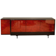 Sideboard by Raphael in Beka Lacquered Wood and Glass, 1950s