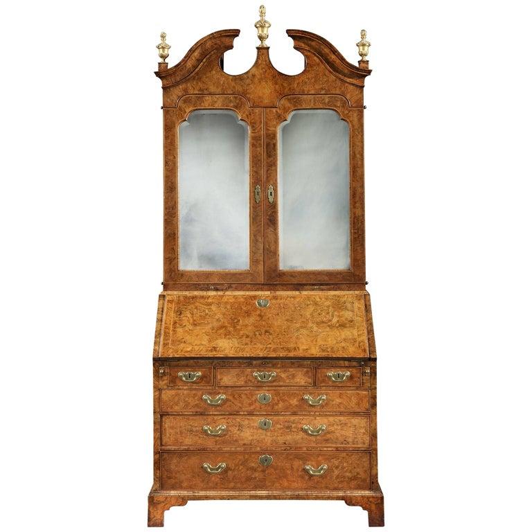George I Walnut and Parcel-Gilt Bureau Cabinet