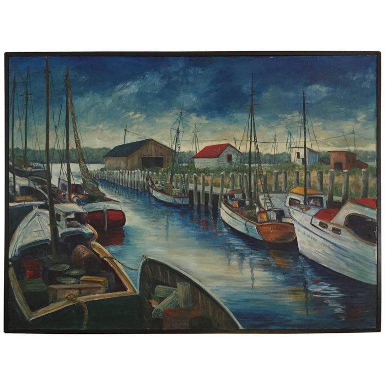 Large Midcentury Acrylic Painting of Waterfront Boating Scene