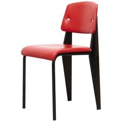 Jean Prouvé Mid Century Modern Red Upholstered Standard Chair, circa 1950