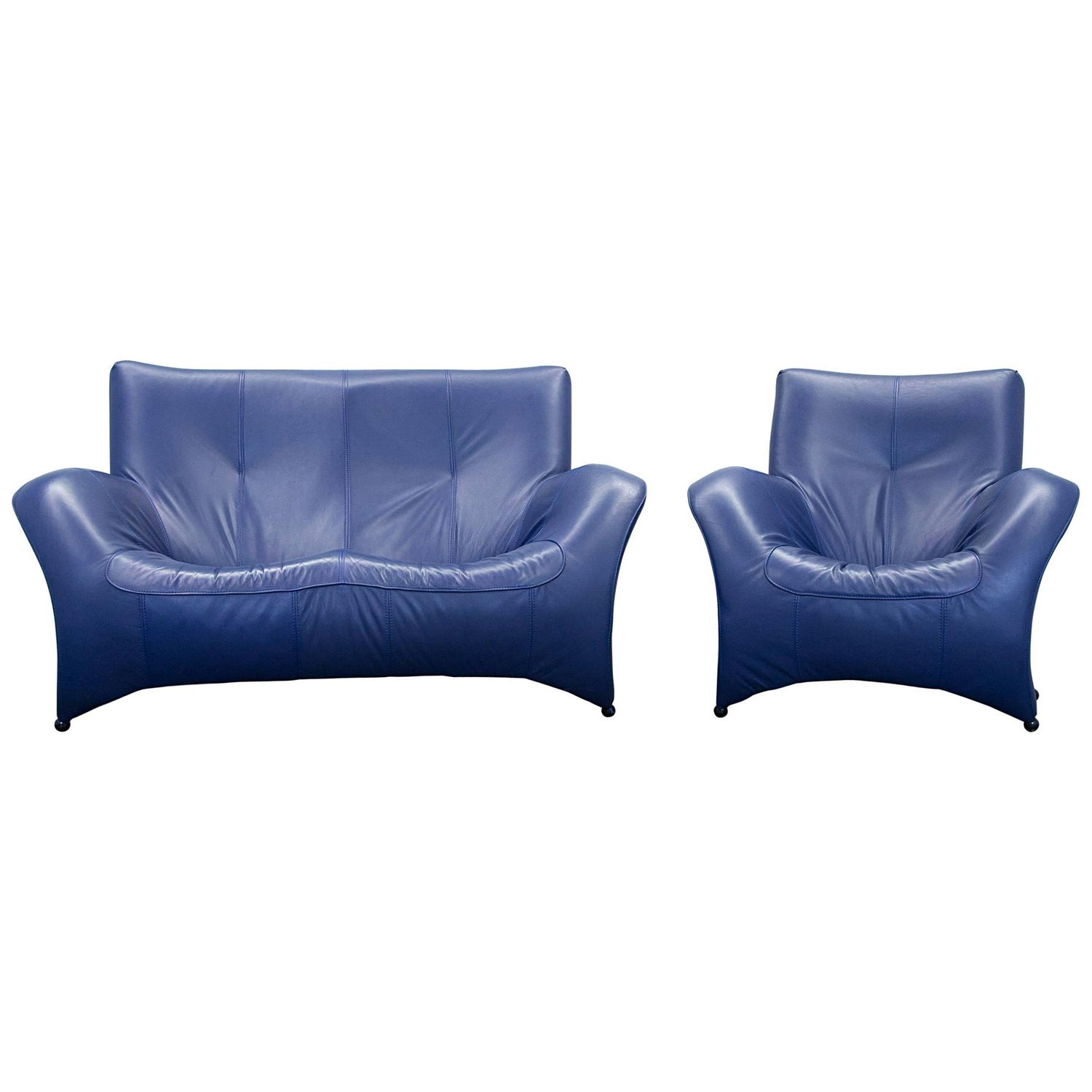 Designer Sofa Set Leather Blue Two Seat Couch Modern For Sale at