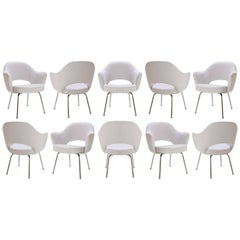 Saarinen Executive Arm Chairs in Dove Luxe Suede, Set of Ten