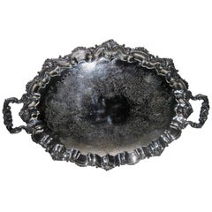 19th Century English Old Sheffield Monumental Size Butler's Tray