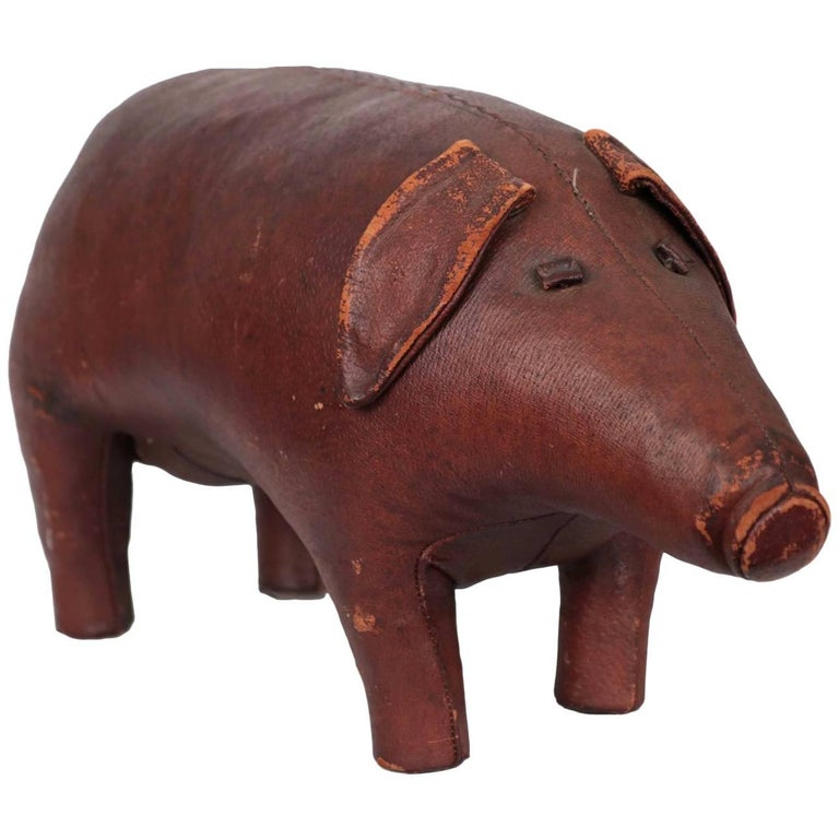 Stitched Leather Pig Footstool Ottoman by Dimitri Osmera for Abercrombie & Fitch