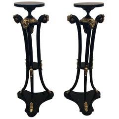 Pair of Empire Style Ebonized Pedestals