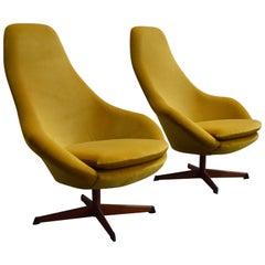 Pair of Midcentury Scandinavian Modern Swivel Chairs in Mustard Velvet