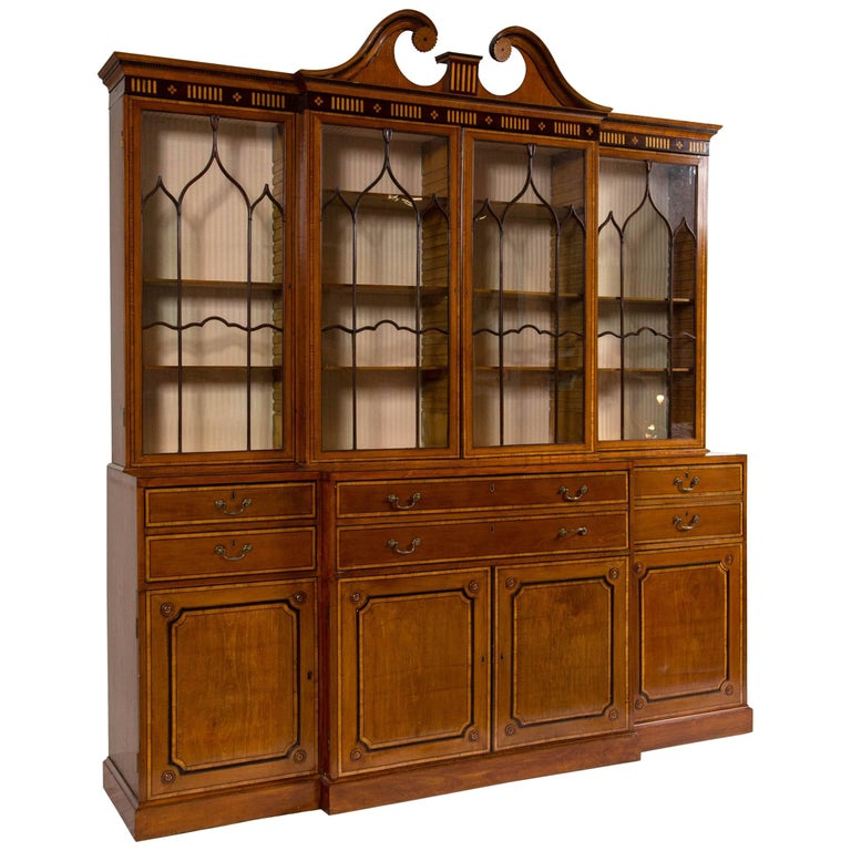 George III Secretaire Bookcase Cabinet, England, circa 1790 For Sale