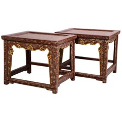 Pair Vintage Chinese Lacquer Tables, 20th Century