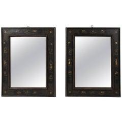 Pair of European Ebonized Chinoiserie Mirrors, 19th Century