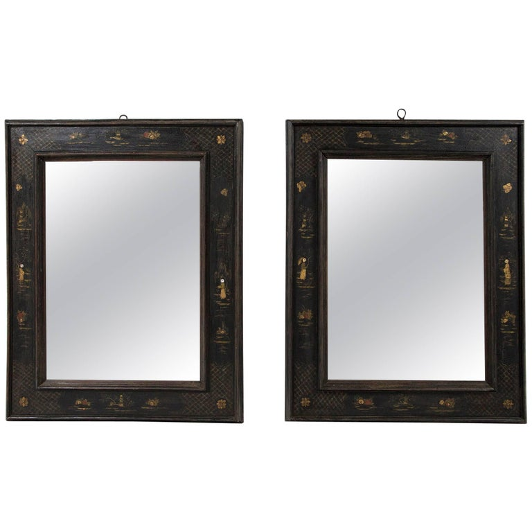 Pair of European Ebonized Chinoiserie Mirrors, 19th Century For Sale